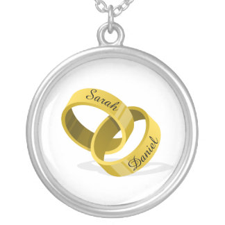 Collar Plateado Anillos de bodas que entrelazan - nombres de