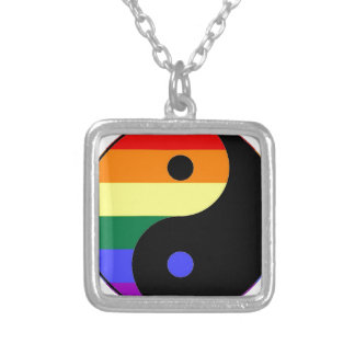 Collar Plateado Arco iris Yin y Yang - colores del arco iris del