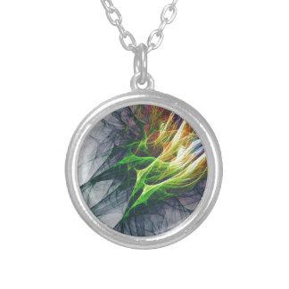 Collar Plateado Arte abstracto del modelo del fractal en 3d