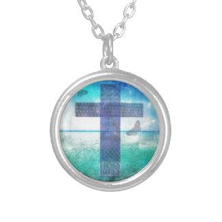 Collar Plateado Arte contemporáneo cruzado cristiano
