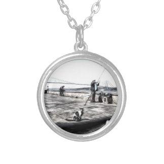 Collar Plateado Arte de Estambul de los pescadores y de los gatos