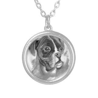 Collar Plateado Arte del perro del boxeador