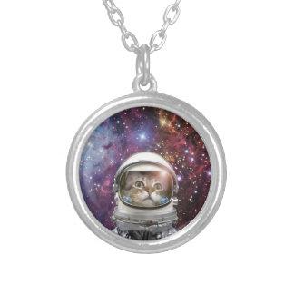 Collar Plateado Astronauta del gato - gato loco - gato