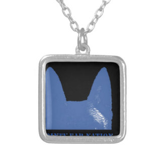 Collar Plateado Azul de la PLUMA en negro