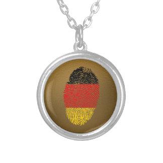 Collar Plateado Bandera alemana de la huella dactilar del tacto