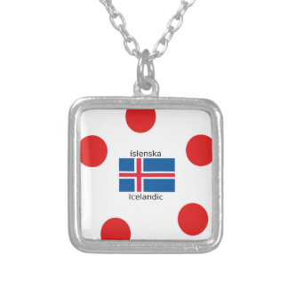 Collar Plateado Bandera de Islandia y diseño islandés de la lengua