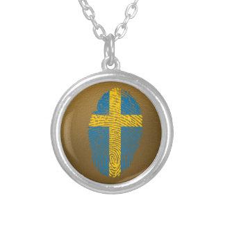 Collar Plateado Bandera de la huella dactilar del tacto del sueco