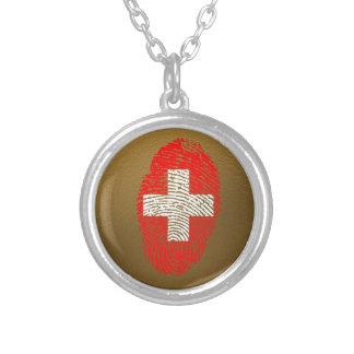 Collar Plateado Bandera de la huella dactilar del tacto del suizo
