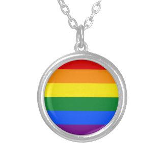 Collar Plateado Bandera del arco iris