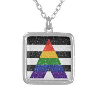 Collar Plateado Bandera del orgullo del aliado del brillo LGBT