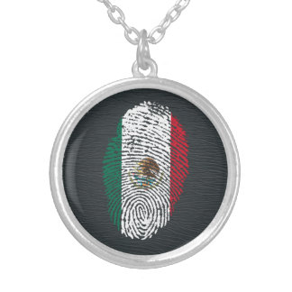 Collar Plateado bandera mexicana de la huella dactilar del tacto