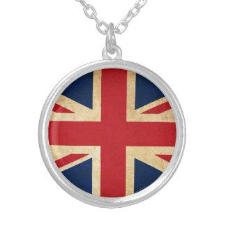 Collar Plateado Bandera vieja Union Jack de Reino Unido del Grunge