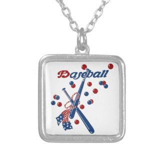 Collar Plateado Barras y estrellas del béisbol del vintage