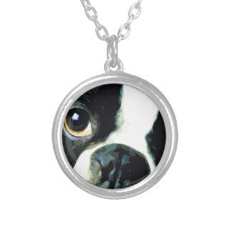 Collar Plateado Boston grande moderna Terrier