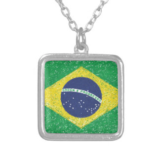 Collar Plateado Brasilen@o del *Hand-sketch* de la bandera del