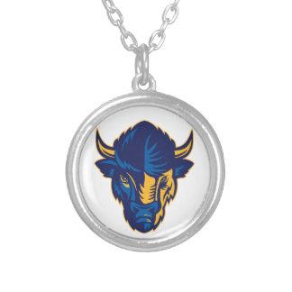Collar Plateado Cabeza del bisonte americano retra