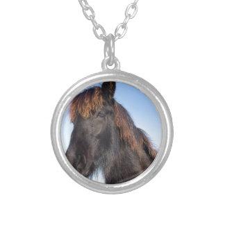 Collar Plateado Cabeza del retrato del caballo negro del Frisian