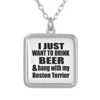 Collar Plateado Caída con mi Boston Terrier