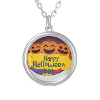 Collar Plateado Calabaza del feliz Halloween