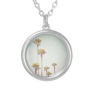 Collar Plateado California que soña fotografía retra de la palmera