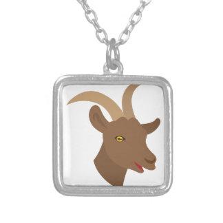 Collar Plateado cara linda masculina de la cabra