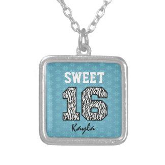 Collar Plateado Cebra 16 del dulce dieciséis con el personalizado