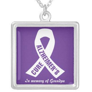 Collar Plateado Cinta de Alzheimers de la curación en púrpura