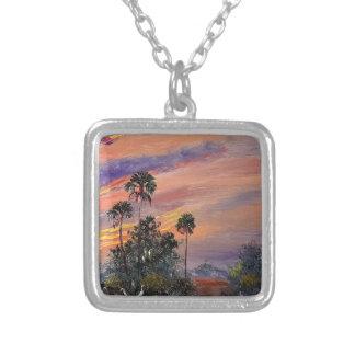 Collar Plateado Colores de la puesta del sol de la Florida
