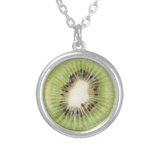 Collar Plateado Comida pendiente de la fruta del kiwi del verano
