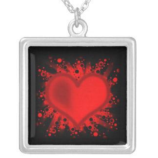 Collar Plateado Corazón, estrellas, círculos, puntos, rayos - rojo