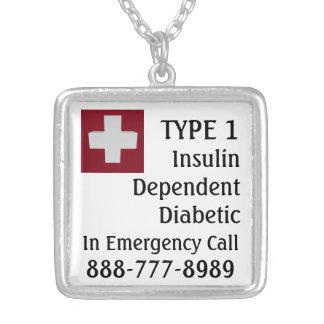Collar Plateado Cruz diabética dependiente del médico del TIPO 1