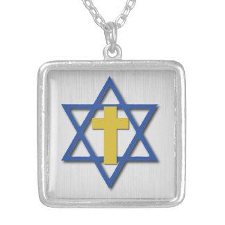 Collar Plateado Cruz mesiánica con la estrella de David