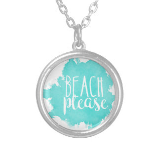 Collar Plateado De la playa blanco por favor