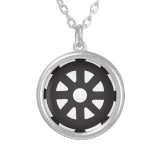 "Collar Plateado Dharmacakra, Dharmachakra, ""rueda de Dharma """