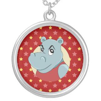Collar Plateado Dibujo animado lindo del hippopotamus