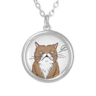 Collar Plateado Dibujo gruñón divertido del gato de Meh