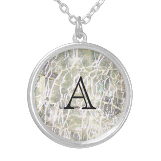 Collar Plateado Diseño de cristal Crackled de Birthstone -