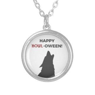 Collar Plateado Diseño feliz de Halloween del hombre lobo del