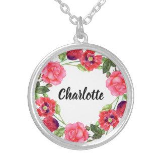Collar Plateado Diseño rojo y rosado de la acuarela de las flores