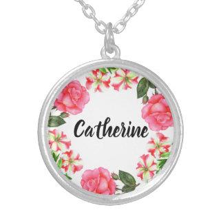 Collar Plateado Diseño rosado de la guirnalda del círculo de las