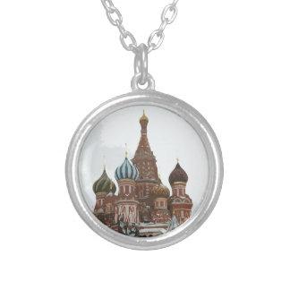 Collar Plateado El cathedral_russo de la albahaca del santo