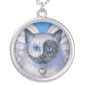 Collar Plateado El gato del zen con Yin-Yang surrealista hace