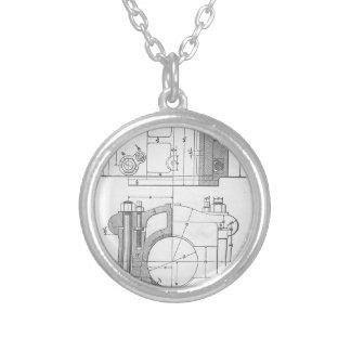 Collar Plateado El gráfico del mecánico industrial del vintage