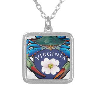 Collar Plateado Escudo del flor del Dogwood de Virginia del