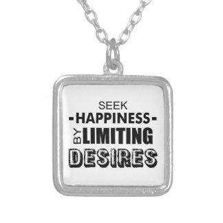 Collar Plateado Felicidad de la búsqueda limitando deseos