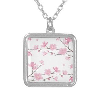 Collar Plateado Flor de cerezo - Transparente-Fondo
