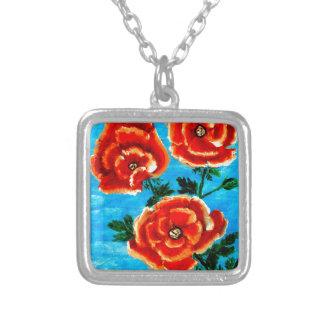 Collar Plateado Flores coloridas 3