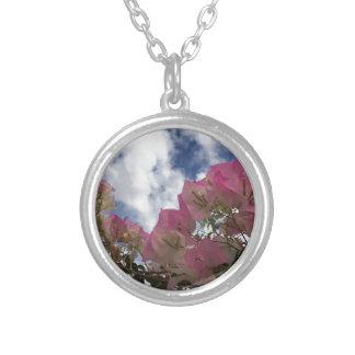 Collar Plateado flores rosadas contra un cielo azul
