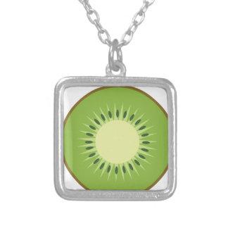 Collar Plateado fruta de kiwi