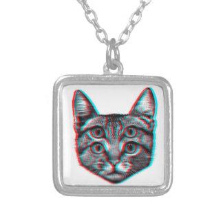 Collar Plateado Gato 3d, 3d gato, gato blanco y negro